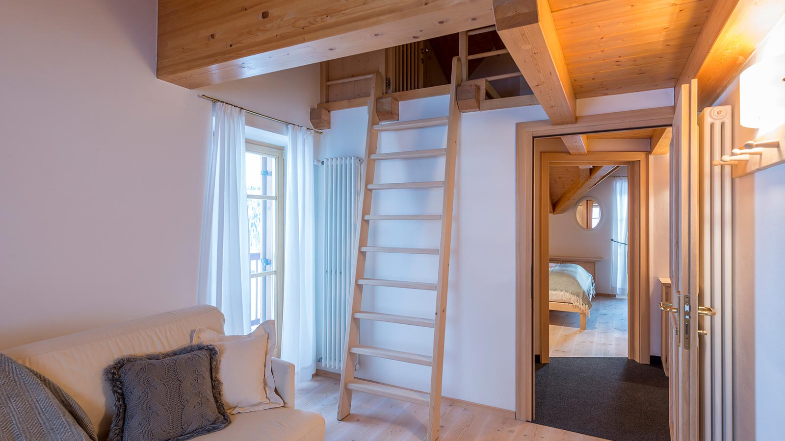 Detail of a staircase in the Chalet room