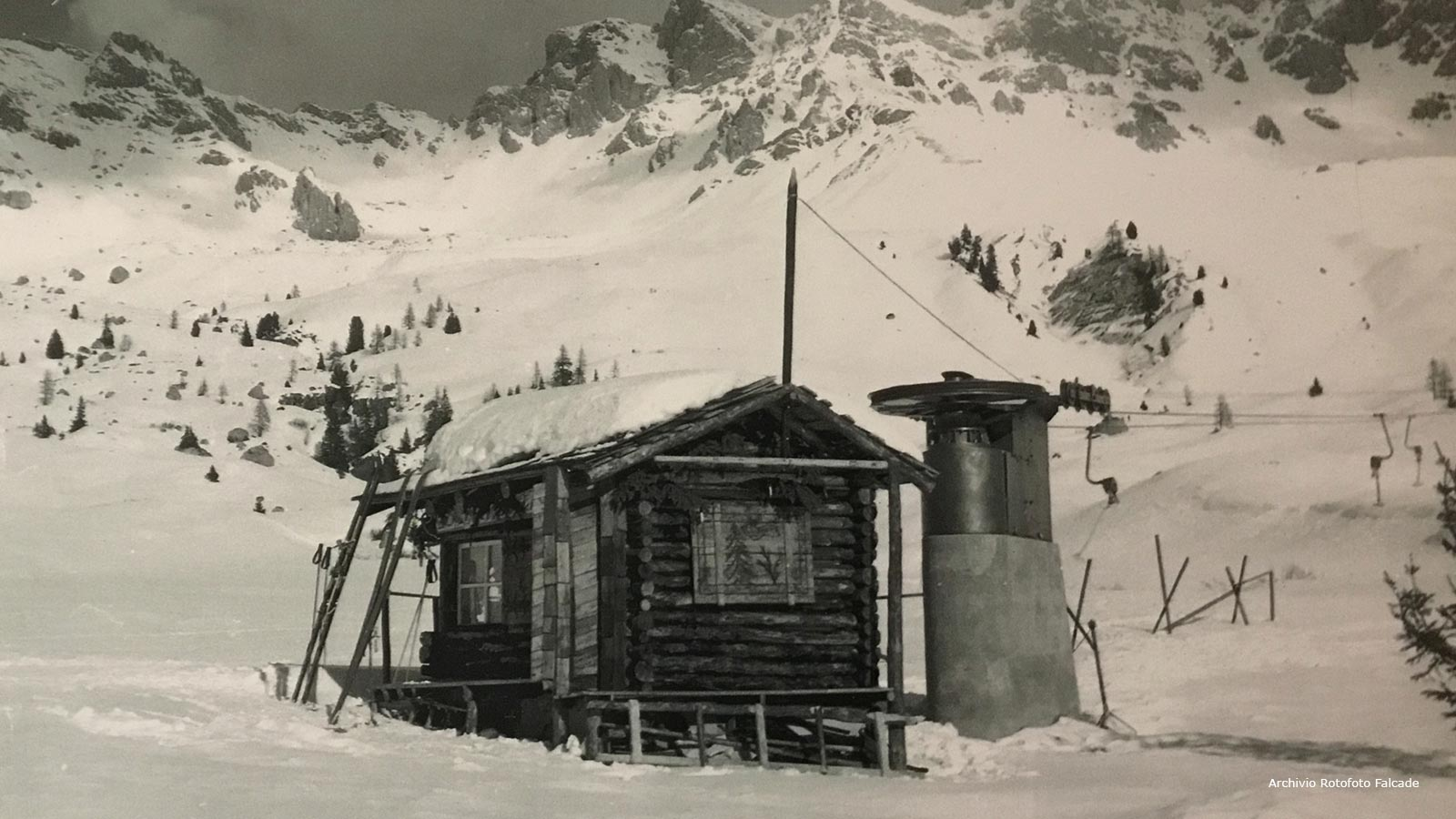 Particular of the old ski lift at San Pellegrino Pass